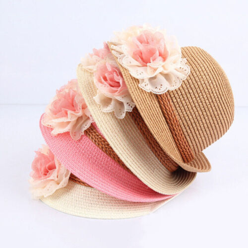 Toddlers Infants Baby Girls Summer hats Straw Sun Beach Hat for Cap 2-7Year JD