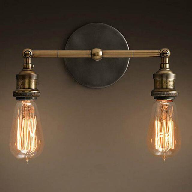 American Rural Retro Individuality Creative Wrought Iron 2 Light Wall Lamp
