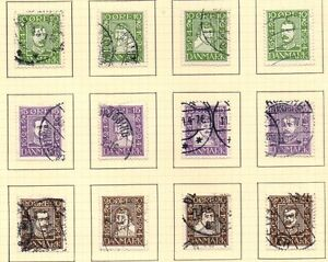 Denmark-Sc-164-75-1924-300th-Anniversary-Postal-Service-stamp-set-used