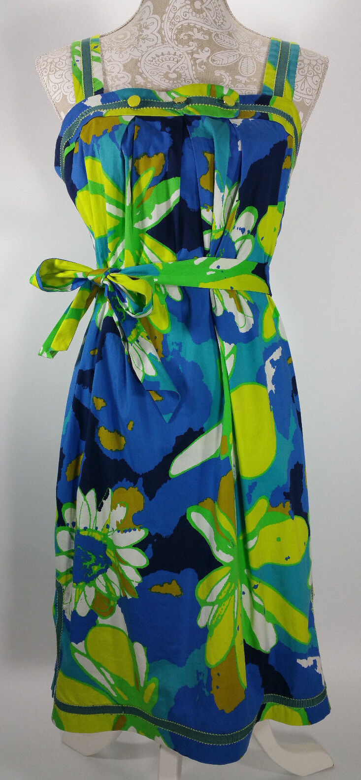 TRINA TURK LOS ANGELES BREEN ART DRESS Größe 8 FLORAL HAWAIIAN BEACH SUMMER CUTE