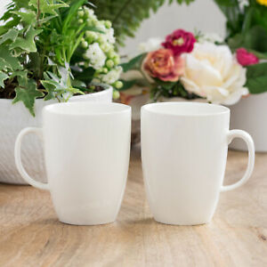 Set of 4 White Porcelain 400ml Belly Latte Coffee Tea Hot Chocolate Mugs Cups