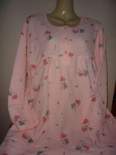 Damen Frottee Nachthemd inn Nelke  M-XXXL 40-54 warm angerauht  apricot Blüm