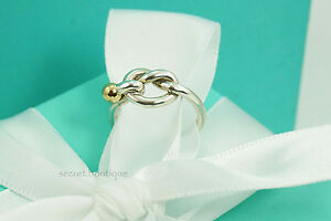 AUTHENTIC-Tiffany-amp-Co-Sterling-amp-18K-Gold-Hook-amp-Eye-Ring-Size-4-5-228