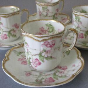 4 Antique HAVILAND Porcelain Demitasse Cups Saucers CHERRY BLOSSOMS Double GOLD