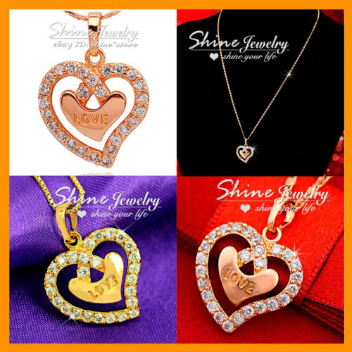 9K YELLOW ROSE SOLID GOLD FILLED HEART DIAMONDS LADY SOLID PENDANT NECKLACE GIFT