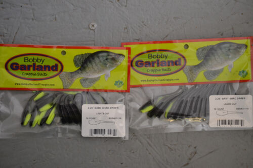 """2 PKS Bobby Garland 2.25/"""" Baby Shad Nageur 15 ct bssw 311 Lights Out"""