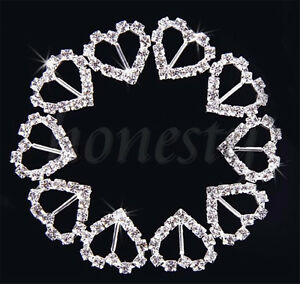 2-50X-Heart-Rhinestone-Diamonte-Ribbon-Buckle-Buckles-Slider-Wedding-Stationery