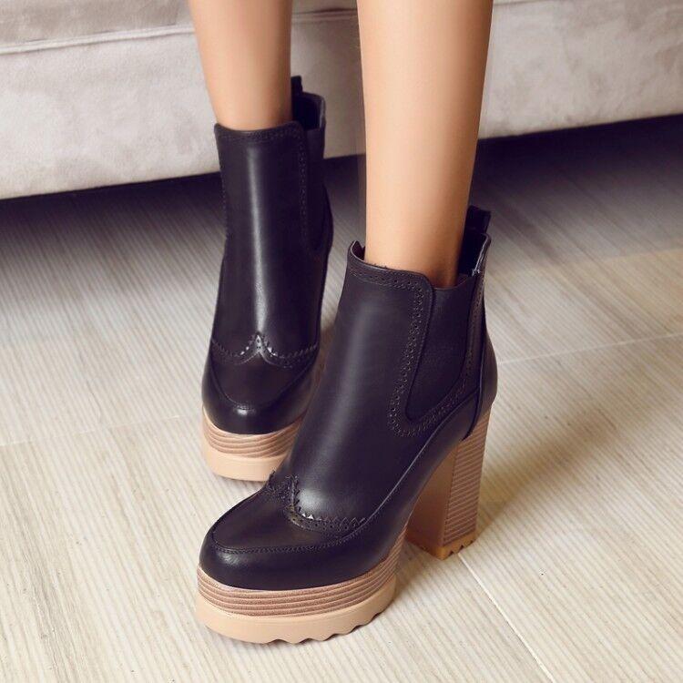 Women Roman Block High Heels Solid Platform Ankle Boots Solid High Top shoes Sz