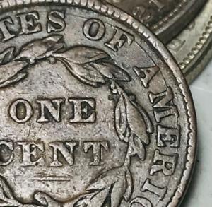 1835 US Large Cent Coronet Head 1C DIE CRACK Good Details US Copper Coin CC5727