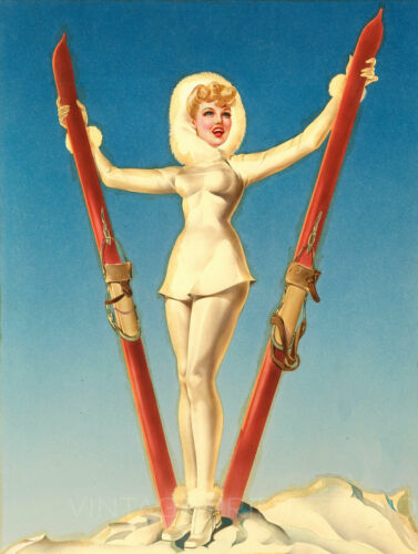 Winter Sports Ski Girl Vintage Pin Up Art Deco Poster Giclee Canvas Print 20x27
