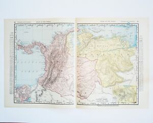 Antique Colombia Venezuela Map XL Vintage South America Map - Caracas on world map