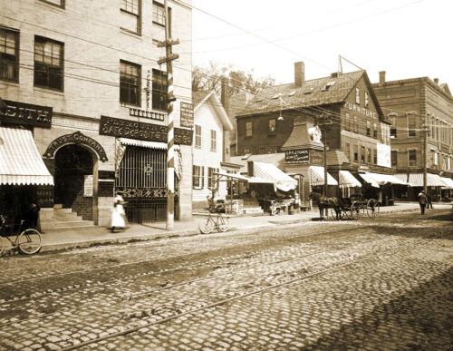 "MA Old Photo 8.5/"" x 11/"" Reprint 1896 Brockton Street Scene Brockton"