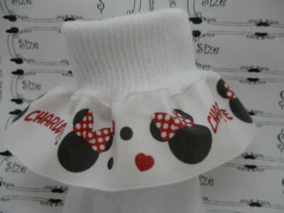 RUFFLE RIBBON SOCKS PERSONALIZED  MTM Kitty Inspired Red and Blue Bows and Dots
