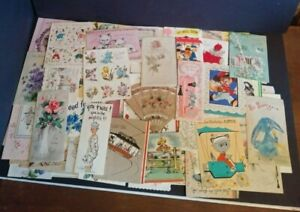 Vintage-Greeting-Card-Lot-of-104-Birthday-Get-Well-1940-039-s-1960-039-s-Paper-Ephemera