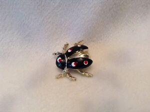 Delightful Image Is Loading Vintage Gold Tone Red Black Enameled Rhinestone Ladybug