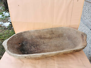 Old antique primitive wooden dough bowl trencher Noshtva hand carved used for making bread