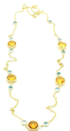 14K Yellow Gold Necklace With Blue Topaz and Citrine Gemstones 16 Inches