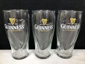 3 Guinness Pint Glasses Embossed Harp Logo Barware St Patricks Day GUC