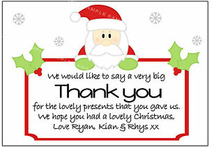 Personalised Cute Santa Christmas Thank You Cards X 10 With