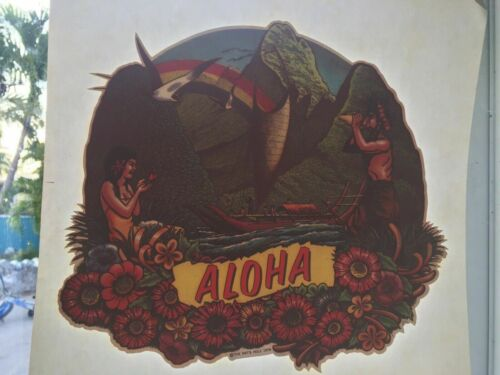 Vintage Rat/'s Hole 1979 Iron On T Shirt Transfer ALOHA Hawaii Rainbow Conch