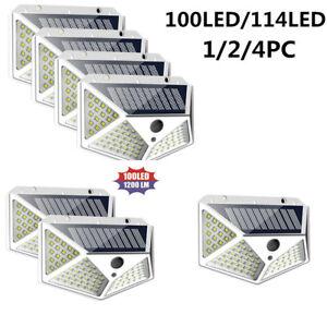 100-LED-Solar-Power-PIR-Motion-Sensor-Wall-Lights-Outdoor-Garden-Waterproof-Lamp