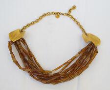 Torrente Paris signed Necklace Rare Vintage Haute Couture gold shell glass bead