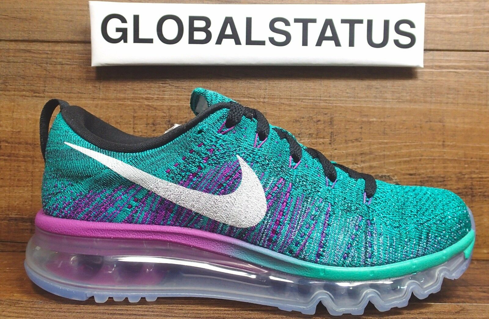 NIKE WOMEN FLYKNIT MAX CLEAR JADE HYPER VOLT BLACK SHOES 620659 013 SIZE 7.5