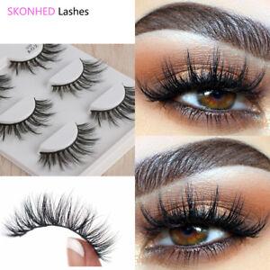 9d922452eea Image is loading 3Pairs-Handmade-3D-Silk-Fiber-False-Eyelashes-Wispy-