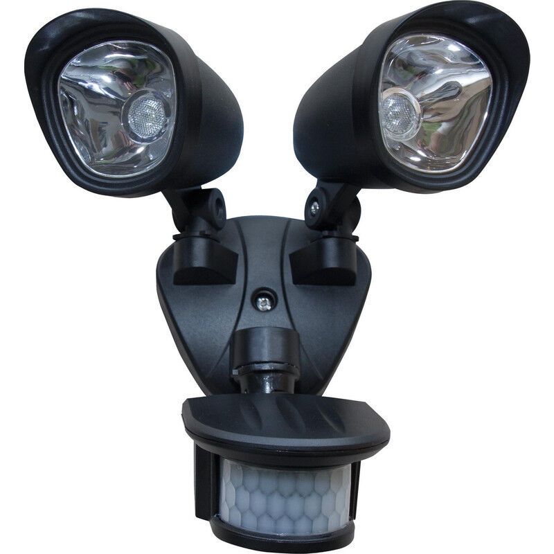 NEW LED Twinspot PIR Floodlight 2x 3W Superbright LED Each