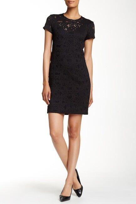 NEW Rebecca Taylor Short Sleeve Die Cut Dress in schwarz - Größe 4