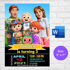 Personalized Cocomelon Birthday Party Invitation card Digital Invite Printable