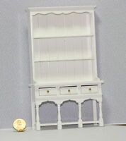 Dollhouse Miniature 1:12 Scale White Painted Wood English Or Welsh Cupboard