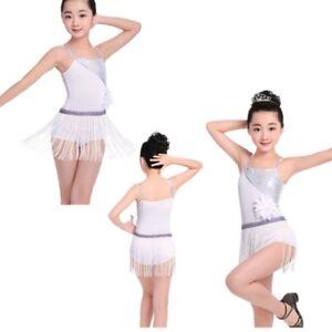 780e394e5 Image is loading Girls-Kid-Sequins-Tassels-Ballet-Latin-Dance-Dress-