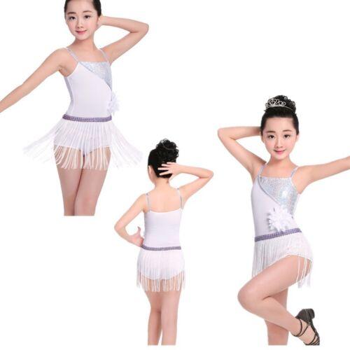 Girls Sequin Ballet Latin Skate Dress Rumba Salsa Tango Tassels Dancewear 4-12Y