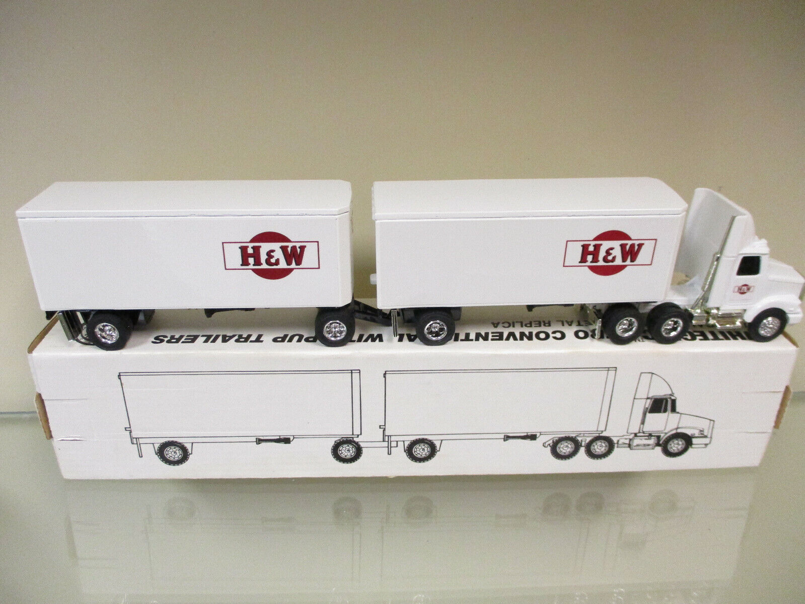 H&W White GMC Semi w  Pup Trailers by Ertl 1 64th Scale