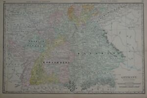 Original 1894 Map Southern Germany Battle Sites Canals Bavaria