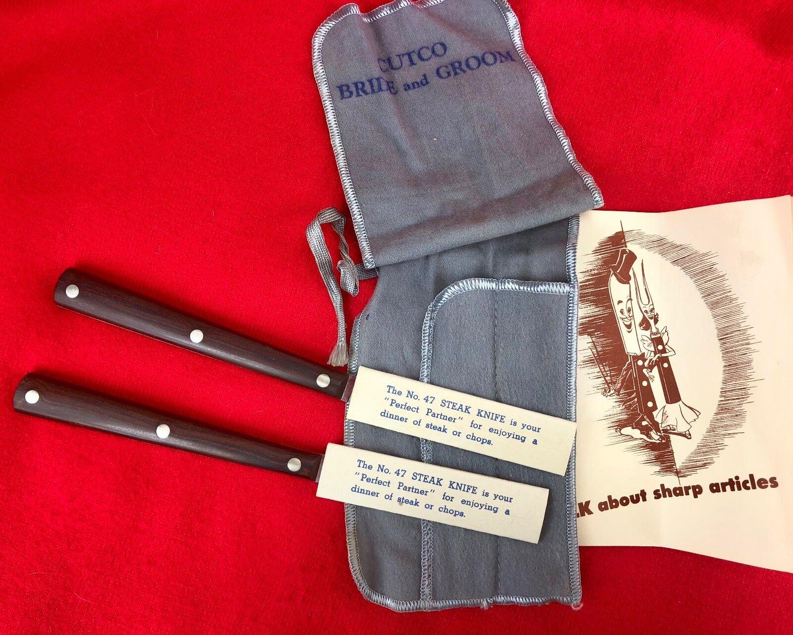 Vintage Cutco  47 Steak Knives Bride & Groom Set of 2 w  Cloth & Ephemera UNUSED