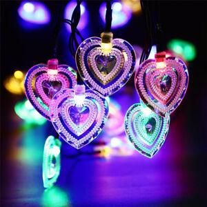 20LED-Luce-Stringa-Energia-Solare-a-Forma-di-Cuore-Fata-Lampada-Da-Giardino-Festa-Decorazione
