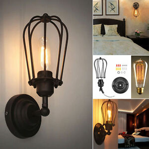 Vintage-Retro-Industrial-Loft-Rustic-Sconce-Wall-Light-Cage-Lamp-Fitting-Fixture