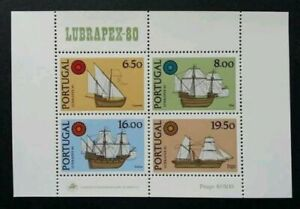 SJ-Portugal-Sailing-Ship-LUBRAPEX-1980-Boat-Vehicle-Transport-Maritime-ms-MNH