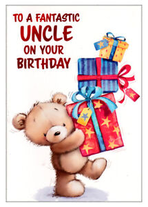 Happy Birthday Card For Uncle, Cute Bear With Presents