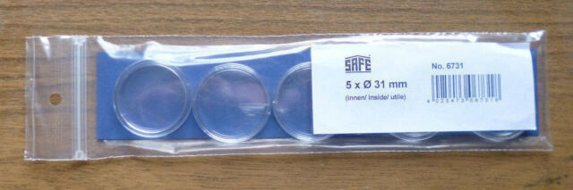 SAFE 31mm COIN CAPSULE Pack of 5 CAPSULES.