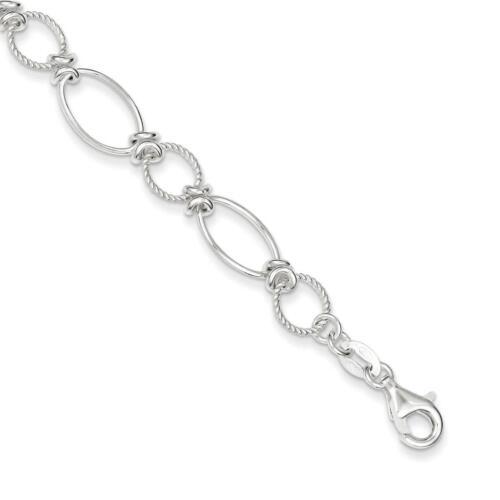 "925 Sterling Silver Polished /& Textured Fancy Circle /& Oval Link Bracelet 7.5/"""