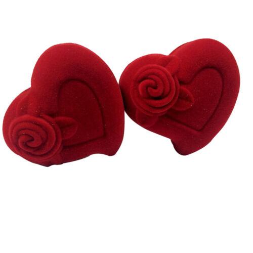 Samt Ring Box Liebe Rotes Herz Form Geschenk Fall Hochzeit Heiraten Ring Case