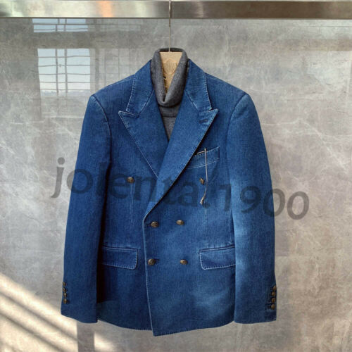 Denim Men Suits Double-Breasted Blazer Slim Fit Casual Tuxedo Peak Lapel Jackets