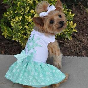 Turquoise-Crystal-Dog-Dress-amp-Matching-Leash