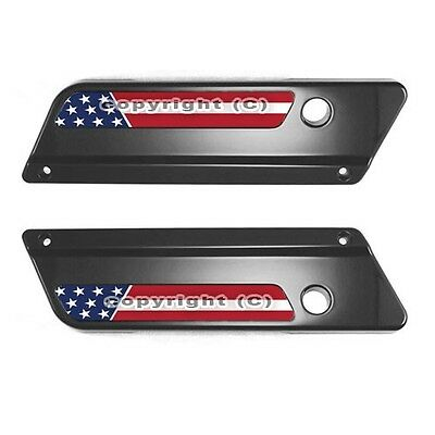 Pair of Custom USA Flag Saddlebag Latch Reflector Decals for Harley