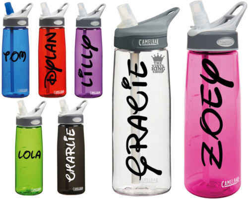 2 x Personalised Name Stickers Drinks Bottle Gym Bike Water Waltz Font Sports