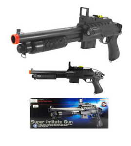 AIRSOFT-SHOTGUN-GUN-w-RED-DOT-SIGHT-LED-FLASHLIGHT-GOGGLES-6mm-BB