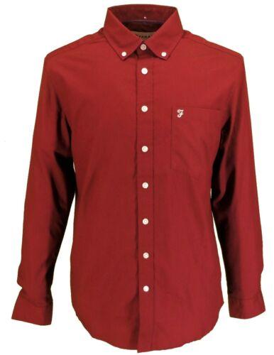 Farah a maniche lunghe Raisin Rosso Plain Button-down shirts